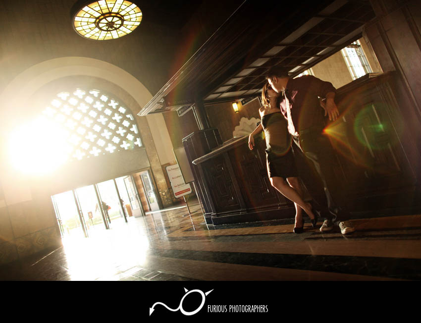 los angeles union station engagement photographs